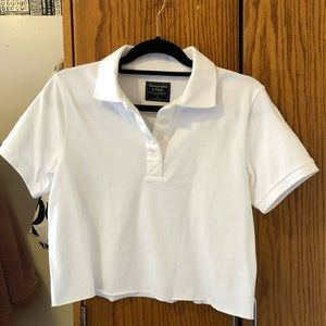 NWT Abercrombie & Fitch cropped white polo shirt